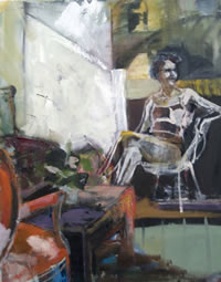 50's Chair, oil on paper, by Liz Brozell